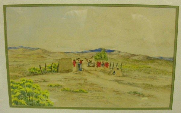 1009: PEARL DOUGHERTY SOUTHWEST WATERCOLOR SANTA FE