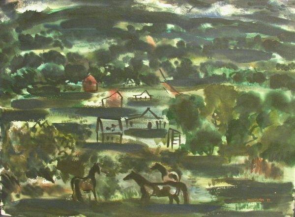 1014: J JAY MCVICKER WATERCOLOR 1947
