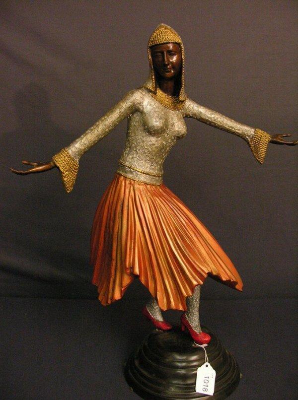 1018: 1920s ART NOUVEAU FIGURAL FEMALE BRONZE