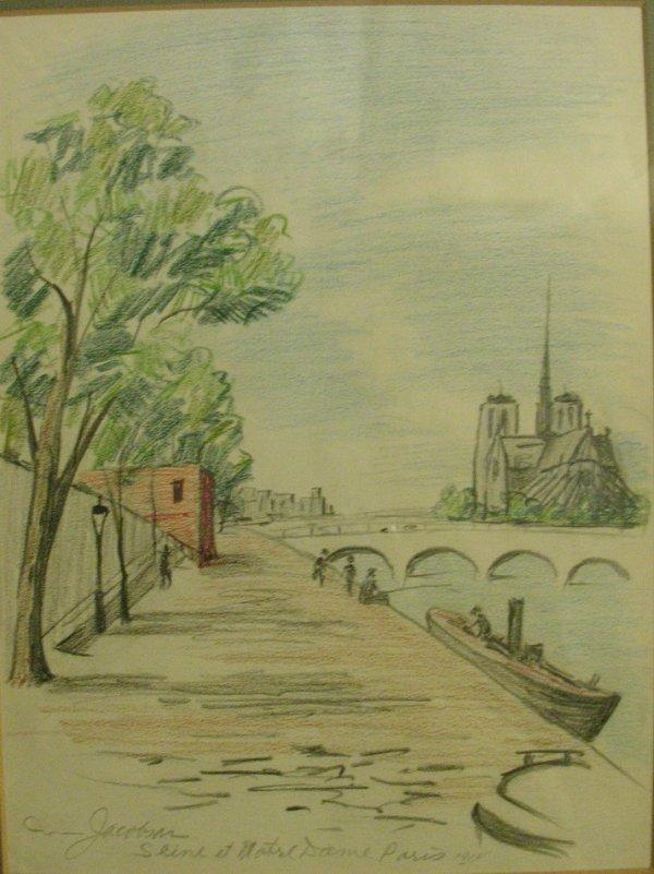 1023: OSCAR JACOBSON COLORED PENCIL NOTRE DAME PARIS