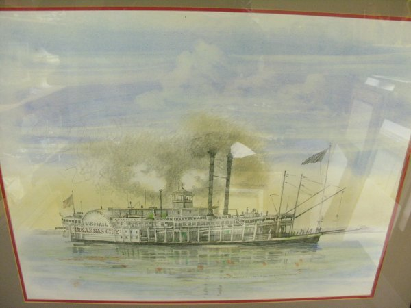 1175: BURNY MYRICK NAUTICAL RIVERBOAT PASTEL PAINTING