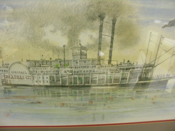 1175: BURNY MYRICK NAUTICAL RIVERBOAT PASTEL PAINTING - 2