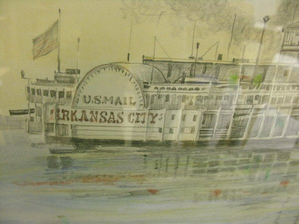 1175: BURNY MYRICK NAUTICAL RIVERBOAT PASTEL PAINTING - 3