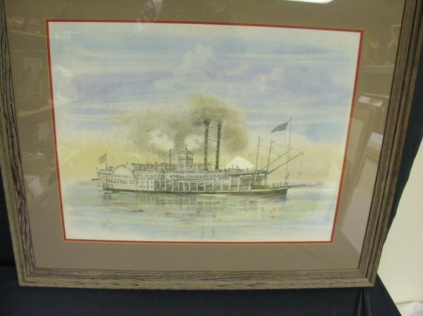 1175: BURNY MYRICK NAUTICAL RIVERBOAT PASTEL PAINTING - 6