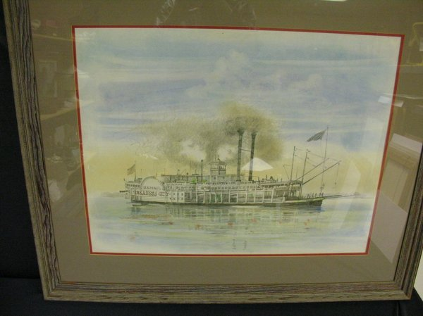 1175: BURNY MYRICK NAUTICAL RIVERBOAT PASTEL PAINTING - 7