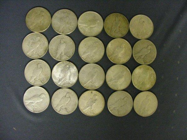 1505: 20 U.S. PEACE SILVER DOLLARS