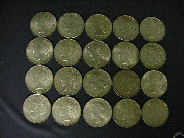 1509: 20 U.S. SILVER PEACE DOLLARS