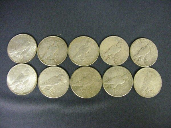 1510: 10 U.S. PEACE SILVER DOLLARS 1922-35