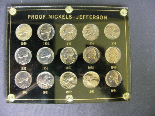 1511: U.S. JEFFERSON NICKEL PROOFS 1950-1964