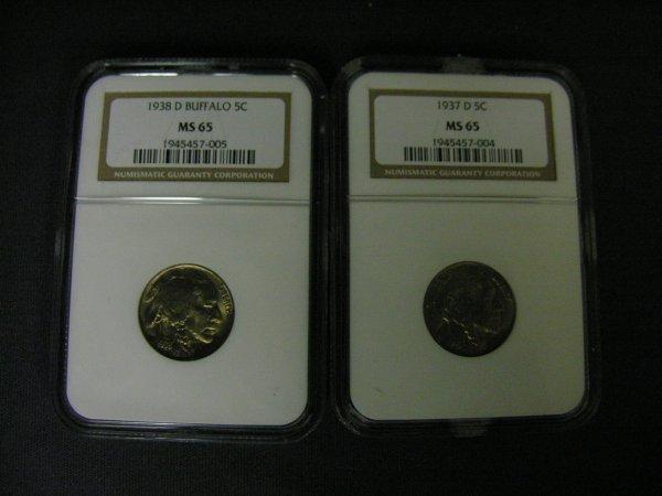 1514: 1937D, 1938D, MS65 BUFFALO NICKELS