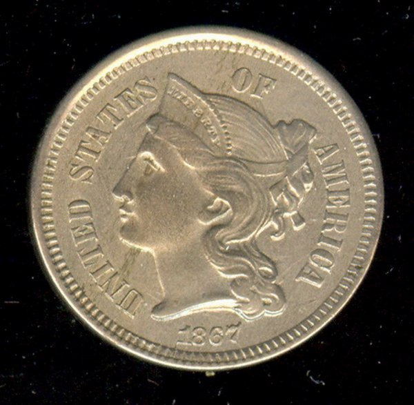 1521: 1867 U.S. 3 CENT COIN