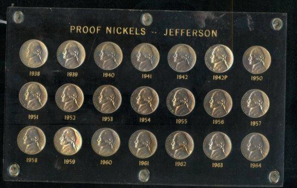 1734: 1938-64 JEFFERSON NICKEL PROOF COINS