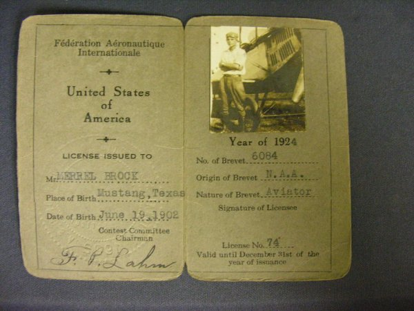 1958: 1924 U.S. PILOT LICENSE FEDERATION AERONAUTIQUE