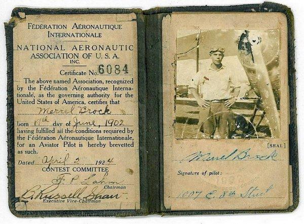 1961: 1924 FEDERATION AERONAUTIQUE PILOT CERTIFICATE