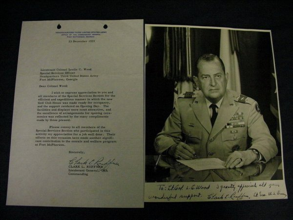 1963A: LT. GEN. CLARK L. RUFFNER AUTOGRAPHED PHOTO