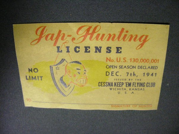 2406: U.S. WWII JAP HUNTING LICENSE