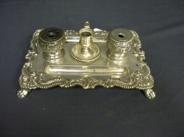 3020: SILVER PLATED CANDLE INKWELL TRAY SET