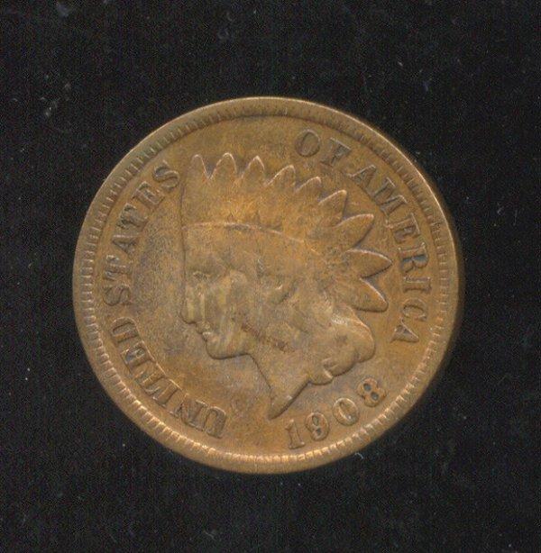 3502: 1908 S U. S. INDIAN HEAD CENT