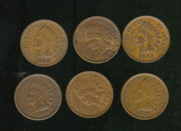 3506: 6 U. S. INDIAN HEAD CENTS 1900-1907