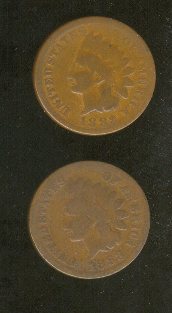 3511: 2 1883 U.S. INDIAN HEAD CENTS