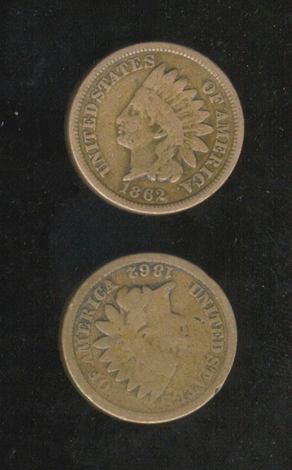3515: 2 1862 U.S. INDIAN HEAD CENTS