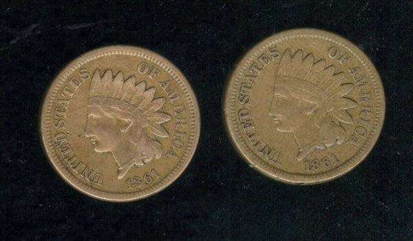 3516: TWO 1861 U.S. INDIAN HEAD CENTS