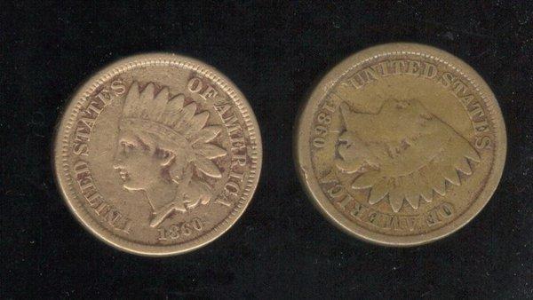 3517: 2 1860 U.S. INDIAN HEAD CENTS