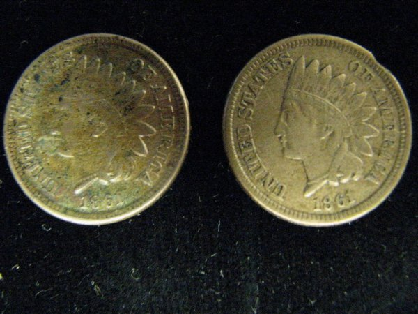 3794: 2 1861 U.S. INDIAN HEAD CENTS