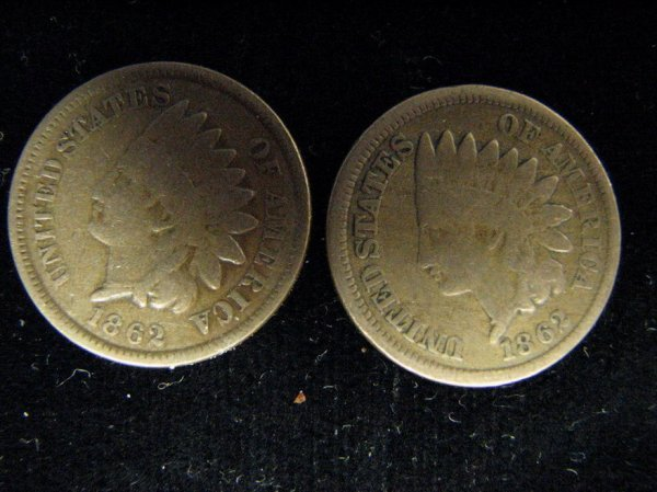 3795: 2 1862 U.S. INDIAN HEAD CENTS