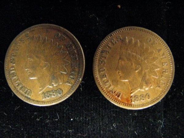 3796: 2 1880 U.S. INDIAN HEAD CENTS