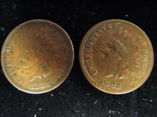 3798: 2 1882 U.S. INDIAN HEAD CENTS