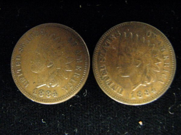3800: 2 1884 U.S. INDIAN HEAD CENTS