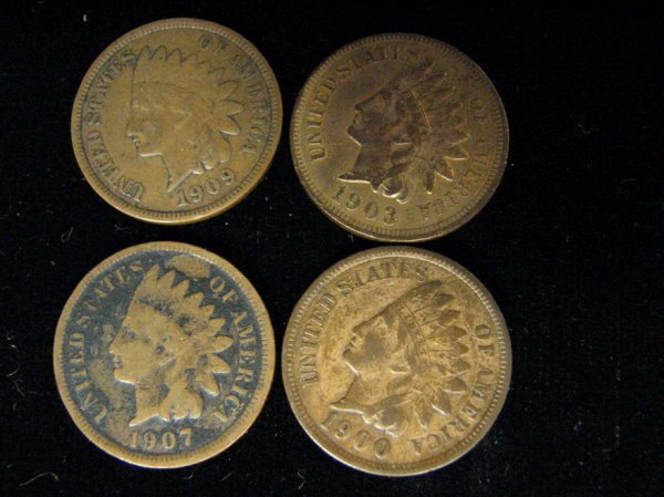 3802: 4 U.S. INDIAN HEAD CENTS