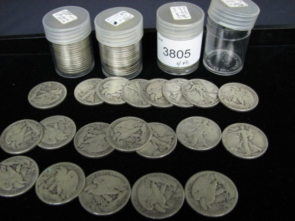 3805: 80 U.S. WALKING LIBERTY HALF DOLLARS