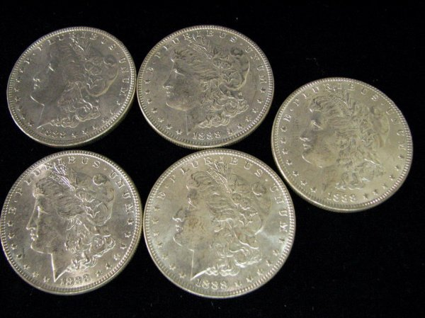 3809: 5 1888 U.S. MORGAN SILVER DOLLARS