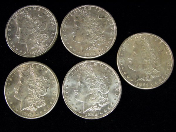 3810: 5 1898 U.S. MORGAN SILVER DOLLARS