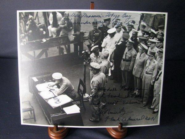 4103: WWII JAPANESE SURRENDER PHOTO NIMITZ AUTOGRAPH