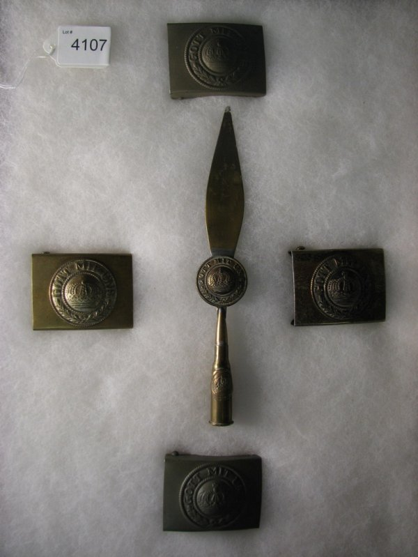 4107: GERMAN MILITARY BELT BUCKLES AND LETTER OPENER