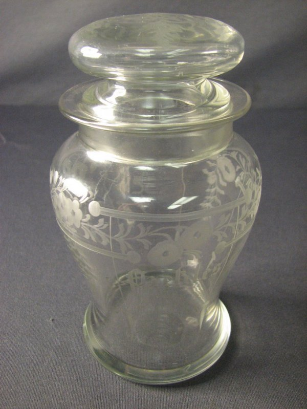 4505: SIGNED HAWKES ETCHED PICKLE JAR