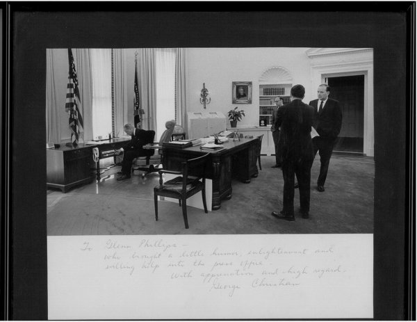 5011: LBJ PHOTO WITH GEORGE CHRISTIAN AUTOGRAPH