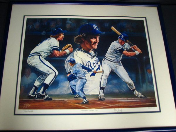 6162: GEORGE BRETT SIGNED LITHO  BY TED WATTS