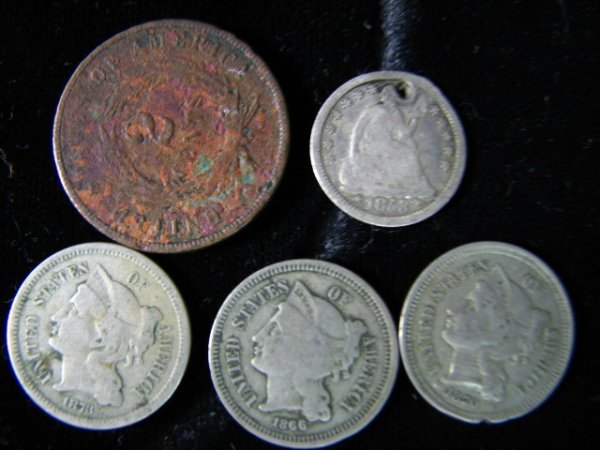 6805: U.S HALF DIME TWO CENT THREE CENT LOT