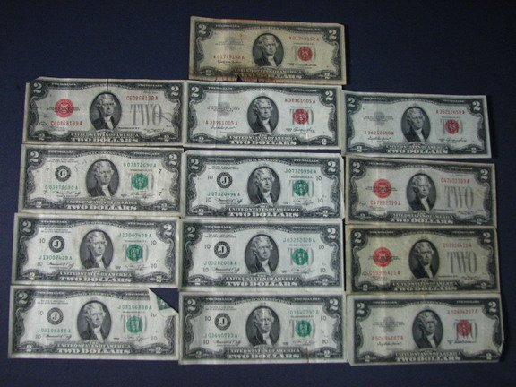 6809: ESTATE LOT 13 U.S. TWO DOLLAR NOTES 1923-76