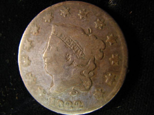 6823: 1822 U.S. ONE CENT
