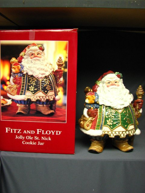 7023: FITZ AND FLOYD JOLLY OLE ST. NICK COOKIE JAR