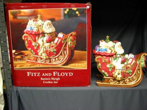 7028: FITZ AND FLOYD SANTA'S SLEIGH COOKIE JAR