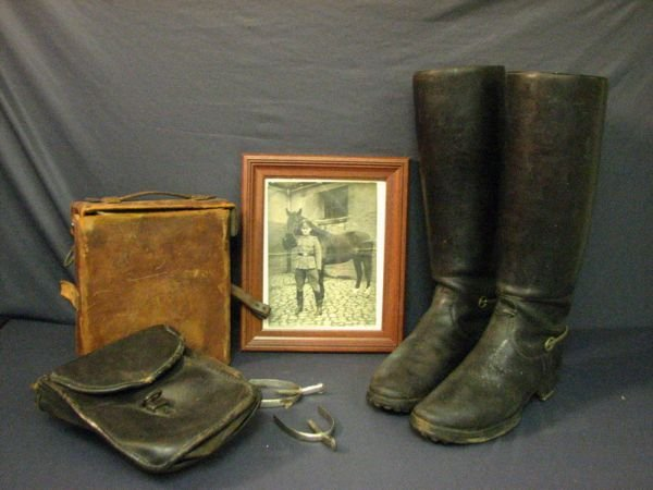 8007: WWII GERMAN CAVALRY BOOTS, SPURS, PICTURE
