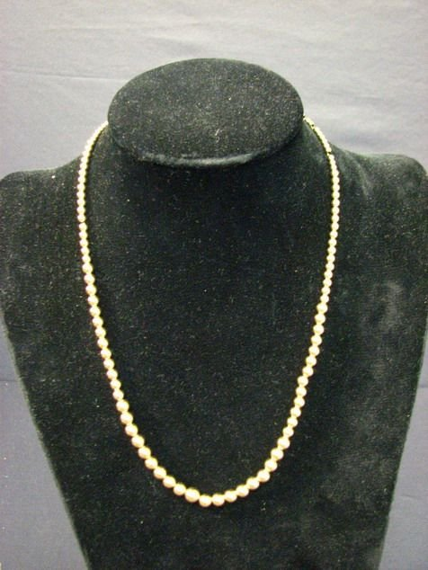 8016: 14 K GOLD BEAD NECKLACE ESTATE JEWELRY