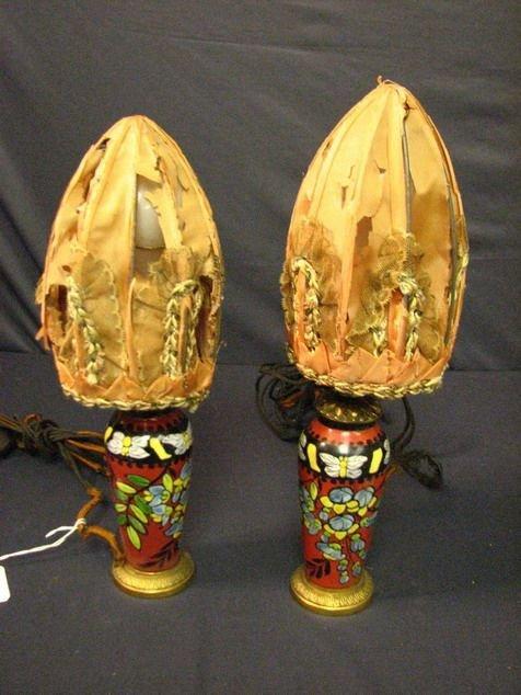 8018: PAIR OF SIGNED ENAMEL BOUDOIR LAMPS