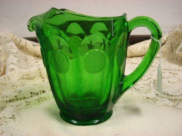 8010: FOSTORIA GREEN COIN  GLASS PITCHER